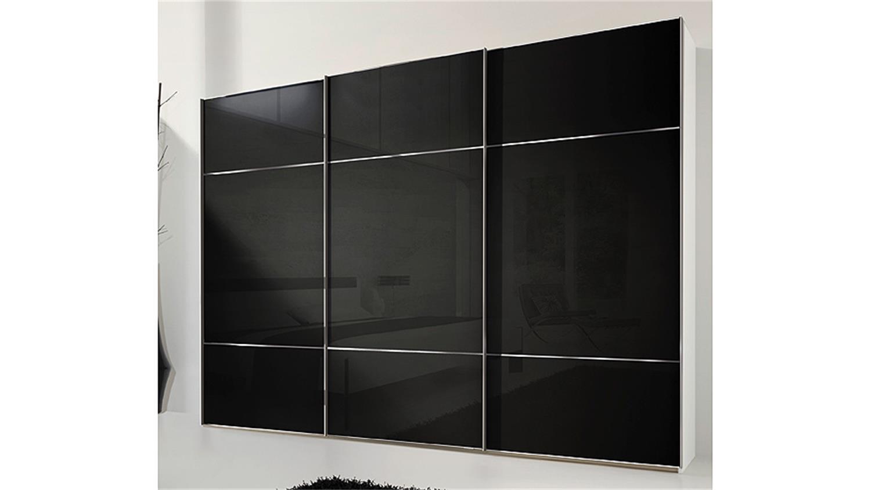 Kleiderschrank marcato von nolte schwarzglas wei b 300 cm for Kleiderschrank nolte