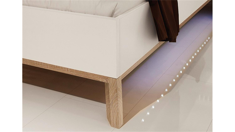 bett sonyo von nolte wei sonoma eiche 180x200 cm inkl led. Black Bedroom Furniture Sets. Home Design Ideas