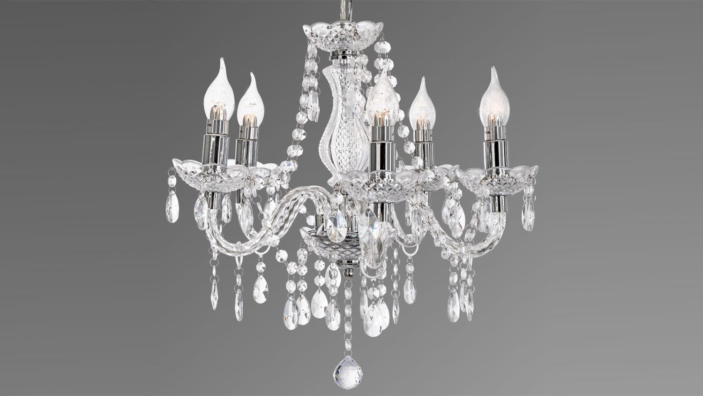 Kronleuchter Flammig Modell : Kronleuchter marie krone chromfarbig mit acrylbehang klar flammig
