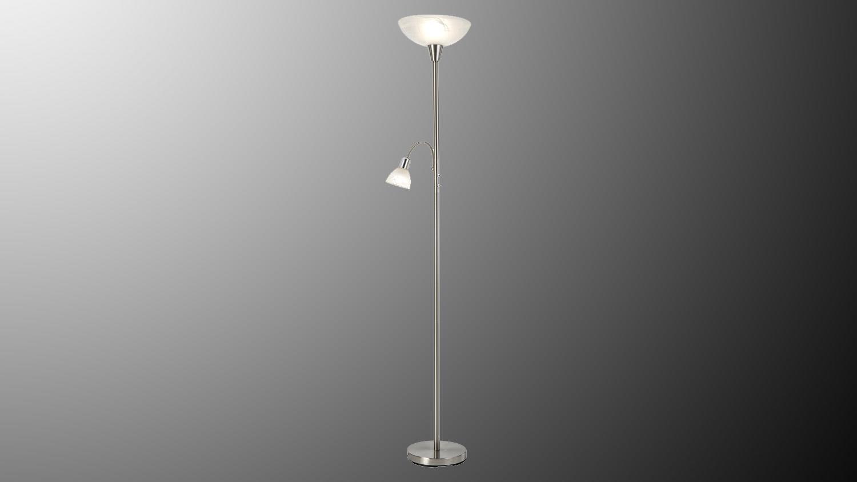 LED Stehleuchte MIKADO Nickel Glas alabaster 2-flg mit Leuchtmittel