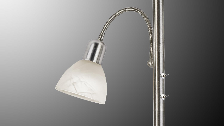Stehleuchte mikado nickel glas alabaster 2 flg mit leuchtmittel