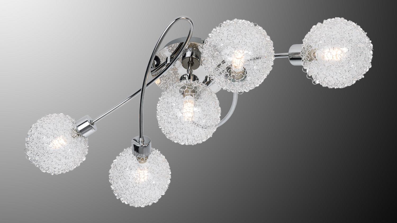 LED Deckenleuchte RYDER Deckenlampe chrom Glas Drahtgeflecht 5-flg