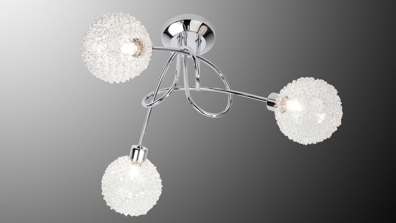deckenleuchte spider lampe mit drahtkugeln in chrom und halogen. Black Bedroom Furniture Sets. Home Design Ideas