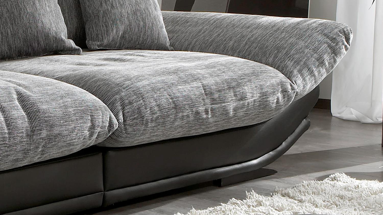 Megasofa grau  ROSE in schwarz und Webstoff grau weiß 300 cm