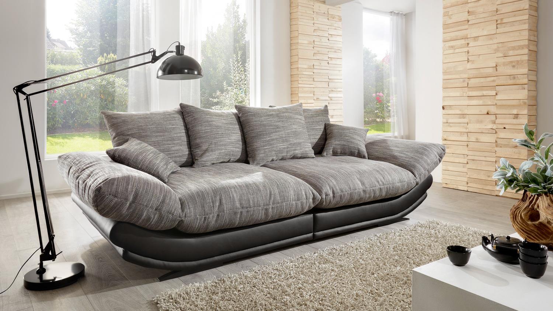 Megasofa braun  ROSE in schwarz und Webstoff braun weiß 300 cm