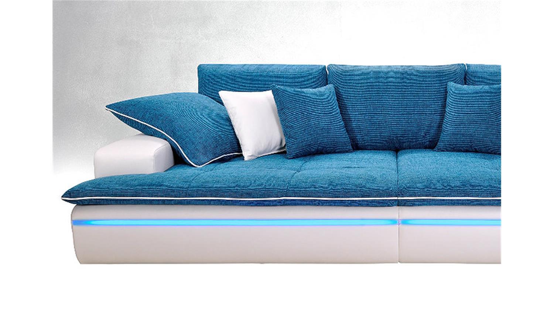 Big Sofa CONTEMPO in weiß und türkis inkl Beleuchtung