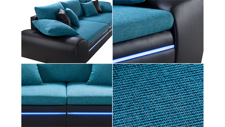 Big Sofa DUBAI in schwarz türkis inkl RGB LED Beleuchtung