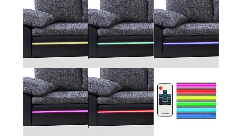 Big Sofa DUBAI in weiß türkis inklusive RGB LED Beleuchtung