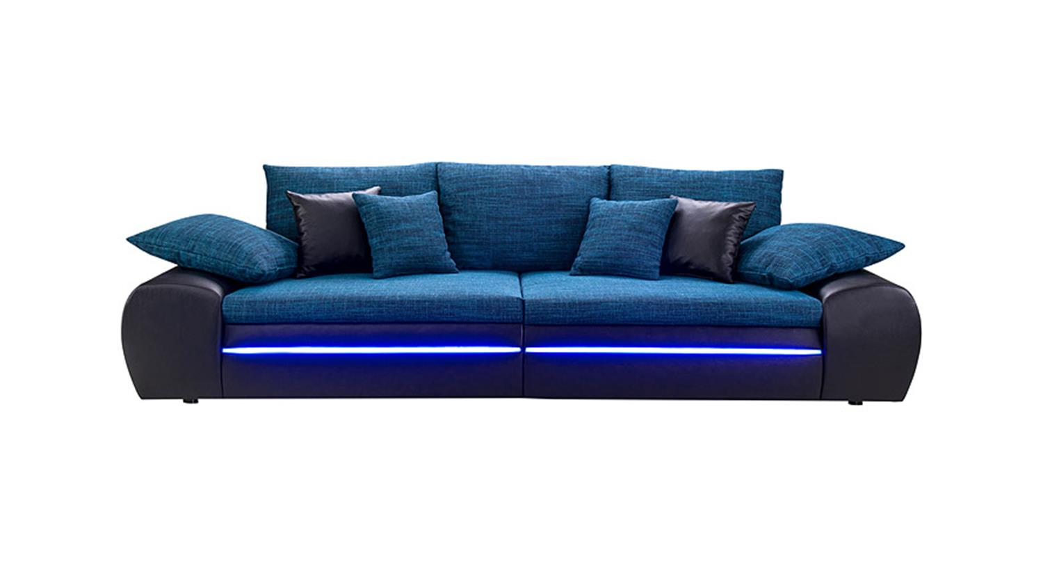 big sofa dubai schwarz blau inklusive rgb led beleuchtung. Black Bedroom Furniture Sets. Home Design Ideas