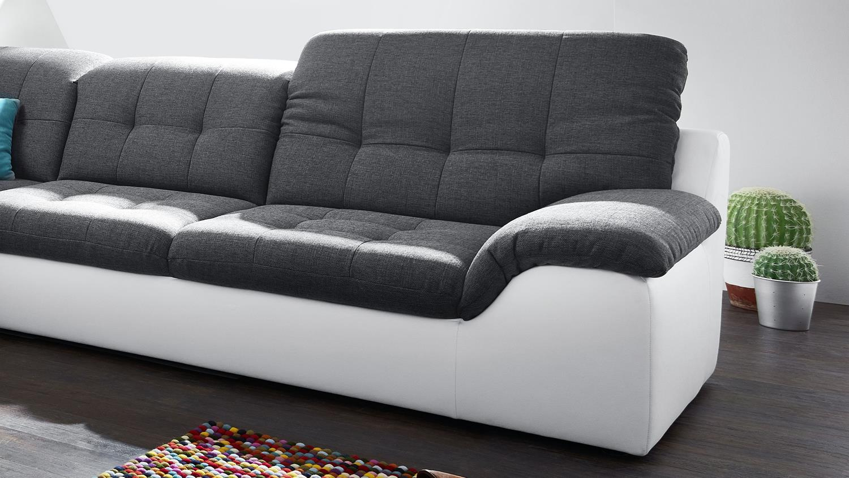 wohnlandschaft malou wei dunkelgrau recamiere li inkl. Black Bedroom Furniture Sets. Home Design Ideas