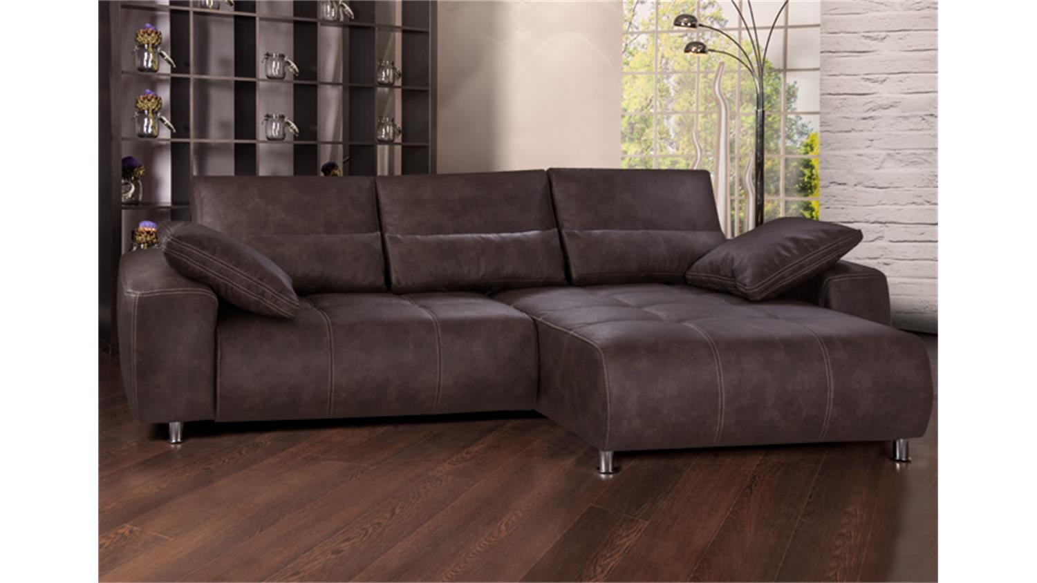 Ecksofa briatore mit bettfunktion und bettkasten braun for Sofaecke mit bettfunktion