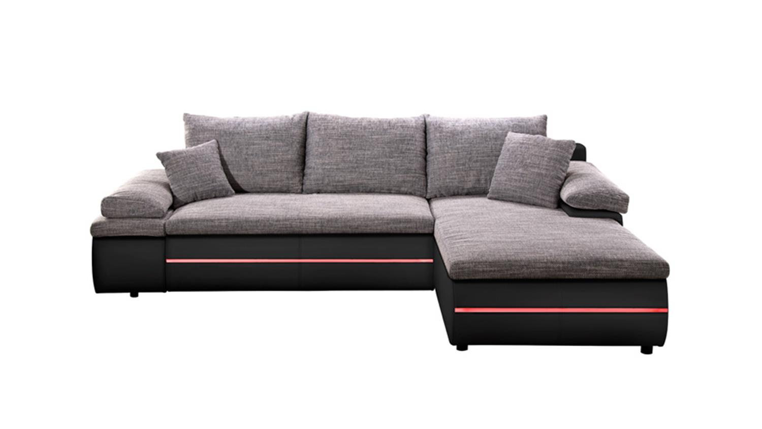 ecksofa bowie grau schwarz inkl rgb und bettfunktion. Black Bedroom Furniture Sets. Home Design Ideas