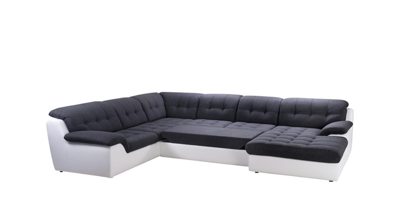 wohnlandschaft malou wei und dunkelgrau recamiere rechts. Black Bedroom Furniture Sets. Home Design Ideas