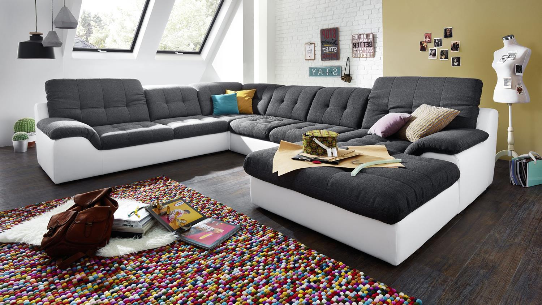 wohnlandschaft malou wei dunkelgrau recamiere re inkl. Black Bedroom Furniture Sets. Home Design Ideas