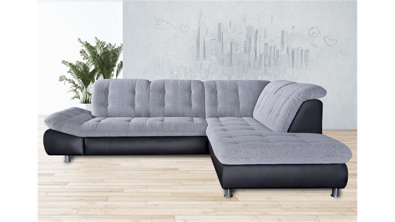 ecksofa milan schwarz und grau wei rechts 271x222 cm. Black Bedroom Furniture Sets. Home Design Ideas