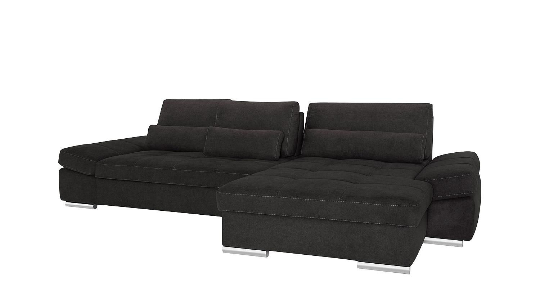 Ecksofa hudson wohnlandschaft sofa in schwarz mit for Ecksofa wohnlandschaft