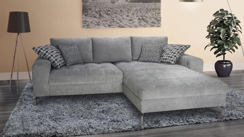 Ecksofa tiago wohnlandschaft sofa polstersofa in silber for Ecksofa in grau