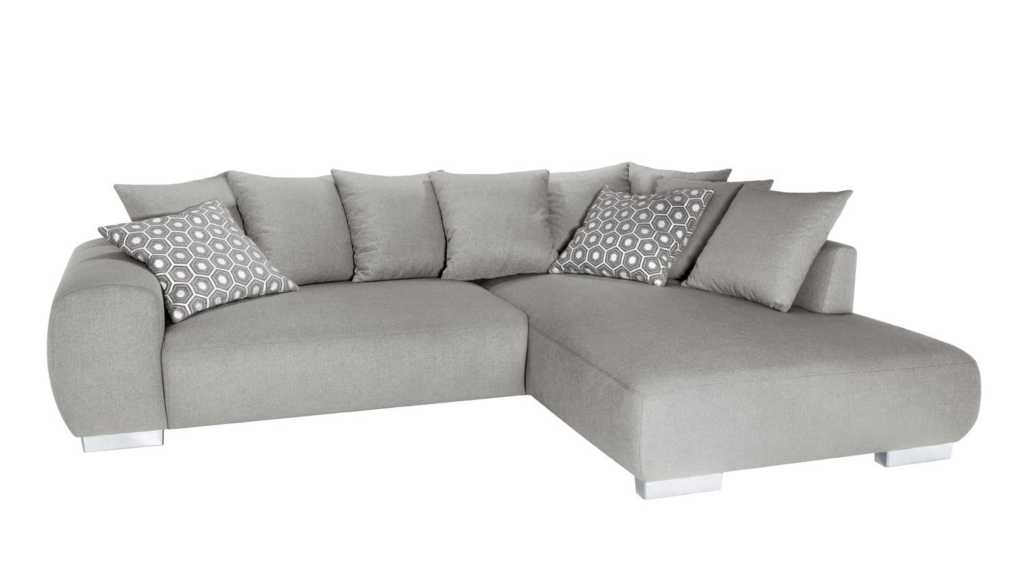 Ecksofa summertime in stoff grau inkl bettfunktion und for Ecksofa stoff grau