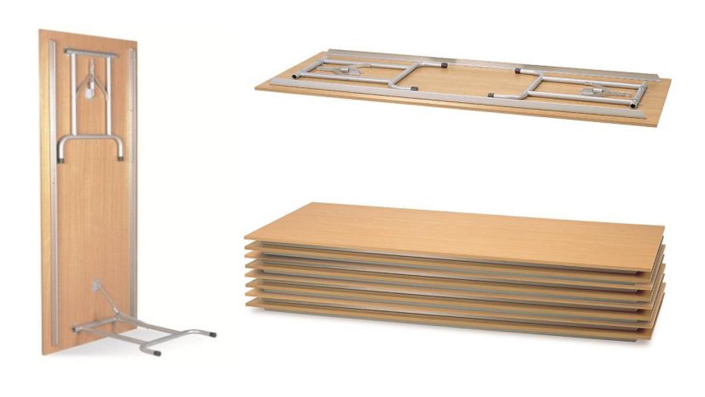 Gastronomie tisch rico 2 buche mit klappgestell 160x80 cm for Esstisch platzsparend