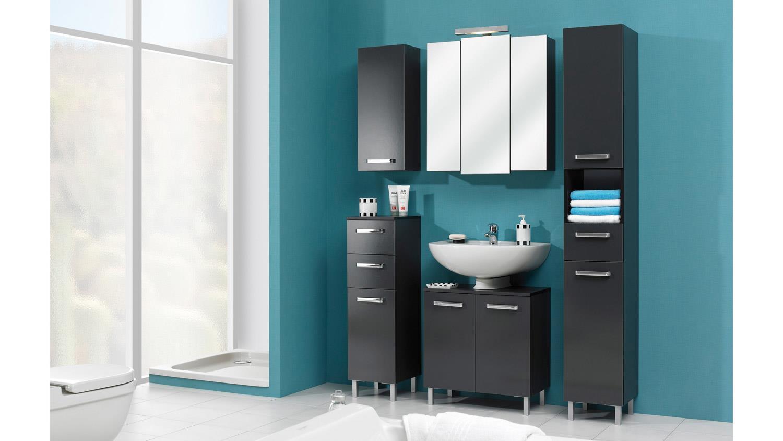 pelipal hochschrank mainz badm bel in anthrazit glanz inkl t rd mpfer. Black Bedroom Furniture Sets. Home Design Ideas