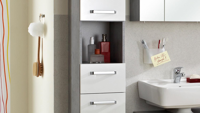 pelipal hochschrank hanau badm bel wei glanz beton inkl t rd mpfer. Black Bedroom Furniture Sets. Home Design Ideas