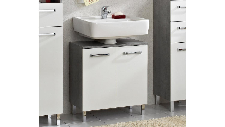 Hanau Möbel pelipal waschbeckenunterschrank hanau weiß glanz beton mit türdämpfer