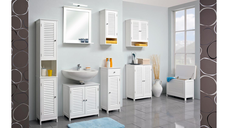 badezimmer jasper badmöbel set in weiß mit lamelle und spiegel, Badezimmer