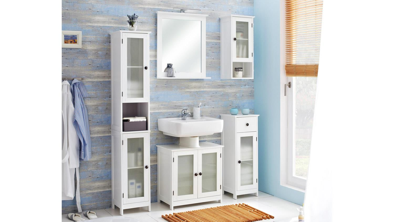 Badmöbel komplettset  Badezimmer MAXIM Badmöbel Komplettset weiß mit Glas 5-teilig