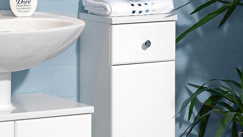 Badmöbel schrank  Kommode SMALL Badmöbel Schrank 1-türig Front in weiß Hochglanz