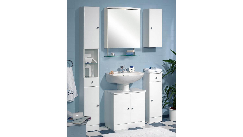 Pelipal Spiegelschrank SMALL Badmöbel Schrank in weiß inkl. Halogen