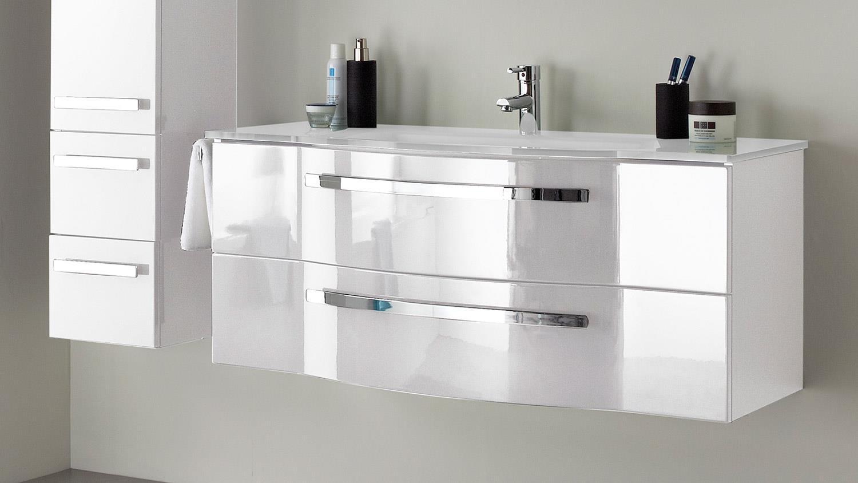 Pelipal badezimmer fokus in wei hochglanz lack inkl led und becken - Badezimmer becken ...
