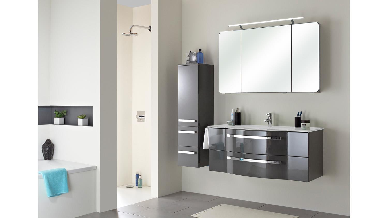Waschbeckenunterschrank FOKUS grau Hochglanz Lack inkl. Becken