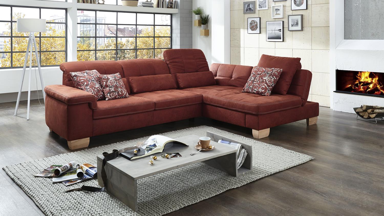 ecksofa sunny bezug in stoff rubin rot braun mit kopfteilverstellung. Black Bedroom Furniture Sets. Home Design Ideas