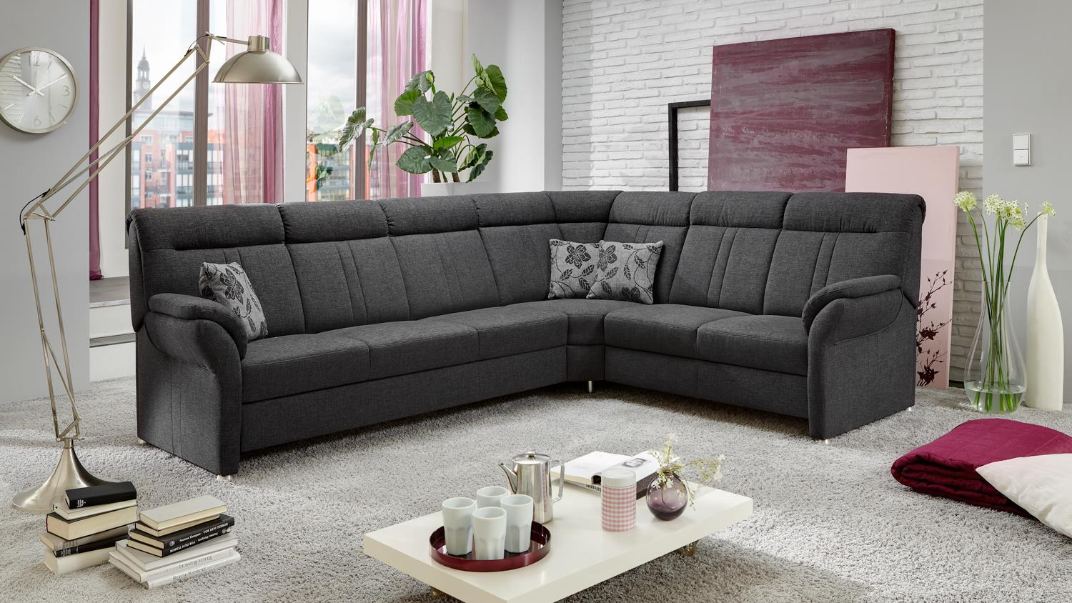 ecksofa marseille bezug stoff anthrazit f e metall mit nosagfederung. Black Bedroom Furniture Sets. Home Design Ideas