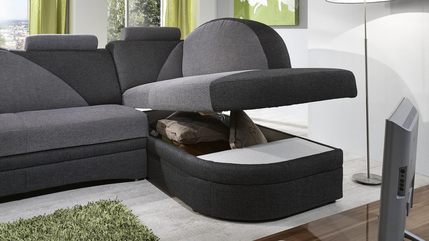 Ecksofa helsinki in anthrazit grau inkl schlaffunktion for Funktions ecksofa mit bettkasten