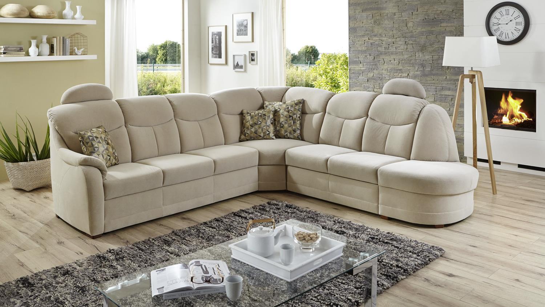 ecksofa queenline bezug in stoff natur f e antik inkl nosagfederung. Black Bedroom Furniture Sets. Home Design Ideas