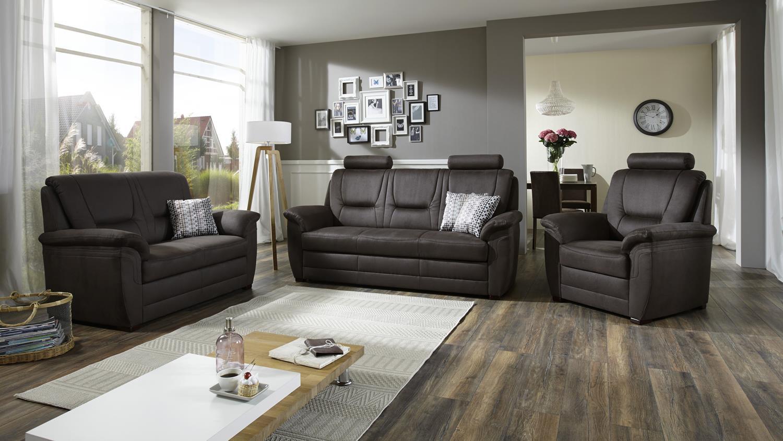 sofagarnitur queenline 3 2 1 in stoff nougat braun inkl. Black Bedroom Furniture Sets. Home Design Ideas