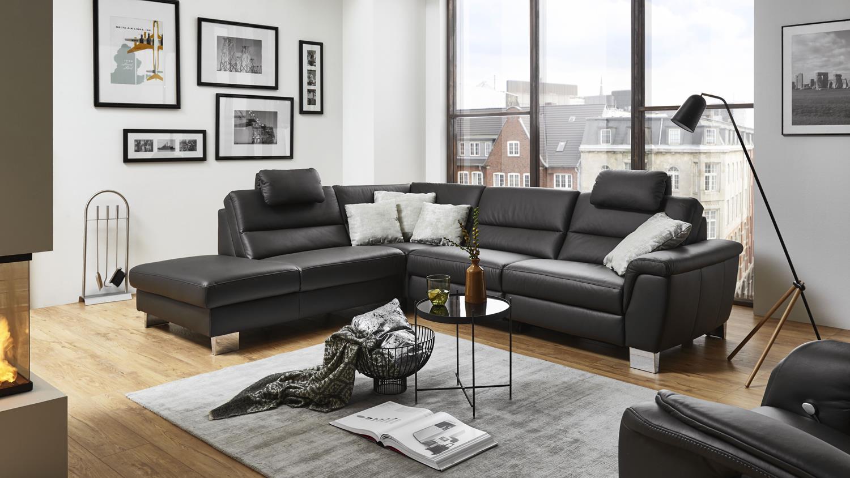 ecksofa sarina bezug in leder schwarz f e metall inkl. Black Bedroom Furniture Sets. Home Design Ideas