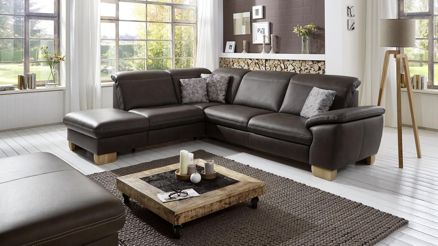 ecksofa raya bezug leder braun f e holz wildeiche inkl. Black Bedroom Furniture Sets. Home Design Ideas