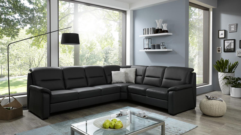 ecksofa memphis l form bezug leder anthrazit federkern. Black Bedroom Furniture Sets. Home Design Ideas