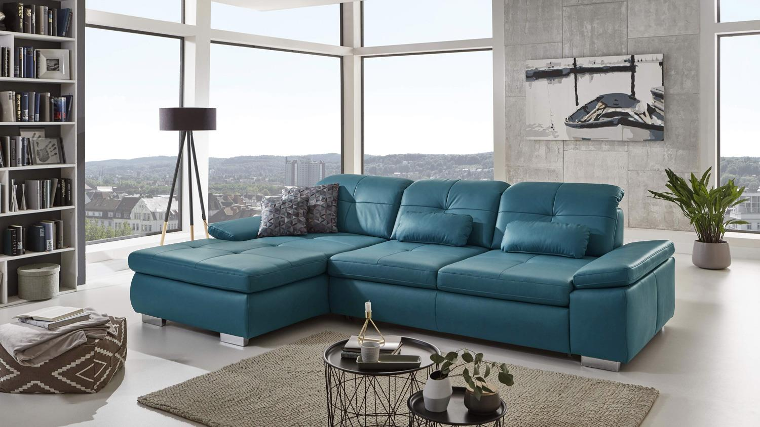 ecksofa active l form bezug leder ocean blau mit sitztiefenverstellung. Black Bedroom Furniture Sets. Home Design Ideas