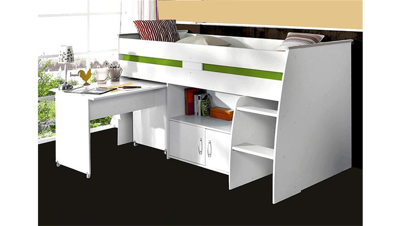 hochbett reverse wei mit schreibtisch leiter und kommode. Black Bedroom Furniture Sets. Home Design Ideas