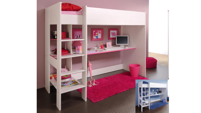 etagenbett smoozy 3 wei kiefer mit blau oder pink 90x200. Black Bedroom Furniture Sets. Home Design Ideas
