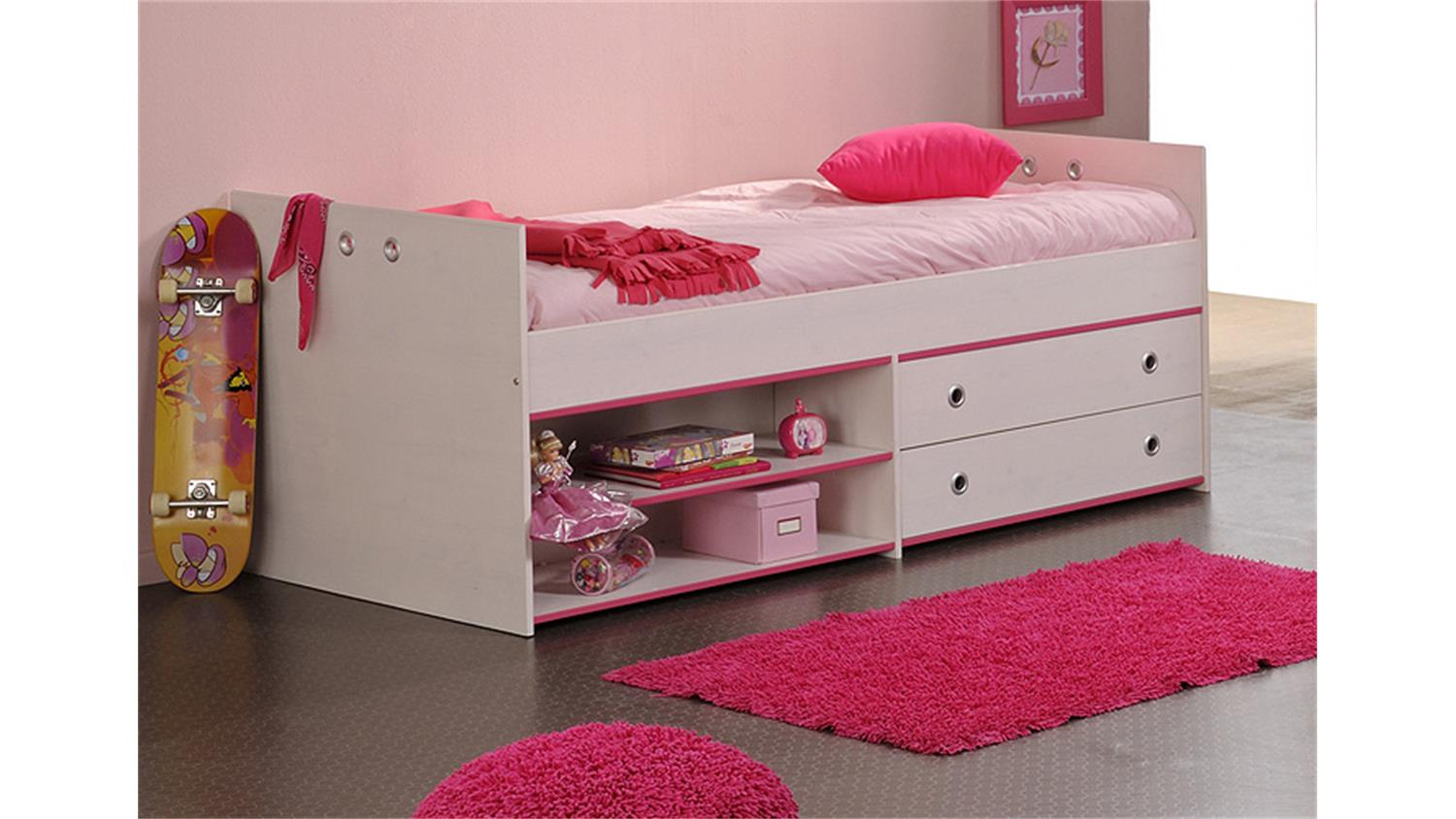 kinderbett smoozy 5 bett 90x200 in kiefer wei drehbare kanten blau oder pink. Black Bedroom Furniture Sets. Home Design Ideas
