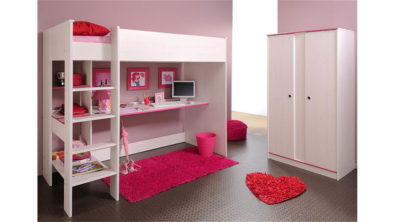 Kinderzimmer set smoozy kin kiefer wei blau pink 2 teilig for Kinderzimmer set