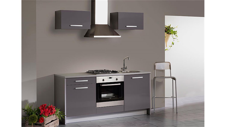 Küche Grau Hochglanz : SIMPLY Single-Küche Weiß Hochglanz/Grau ...