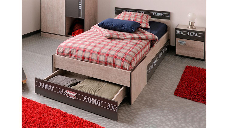 bett fabric kinderbett einzelbett in esche und grau 90x200. Black Bedroom Furniture Sets. Home Design Ideas