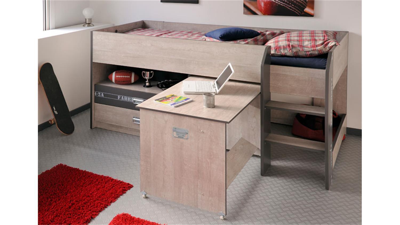 hochbett fabric mit schreibtisch in esche grau 90x200 cm. Black Bedroom Furniture Sets. Home Design Ideas