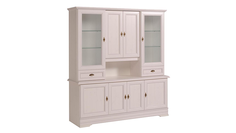buffet elise vitrine schrank kiefer in wei mit glast ren. Black Bedroom Furniture Sets. Home Design Ideas
