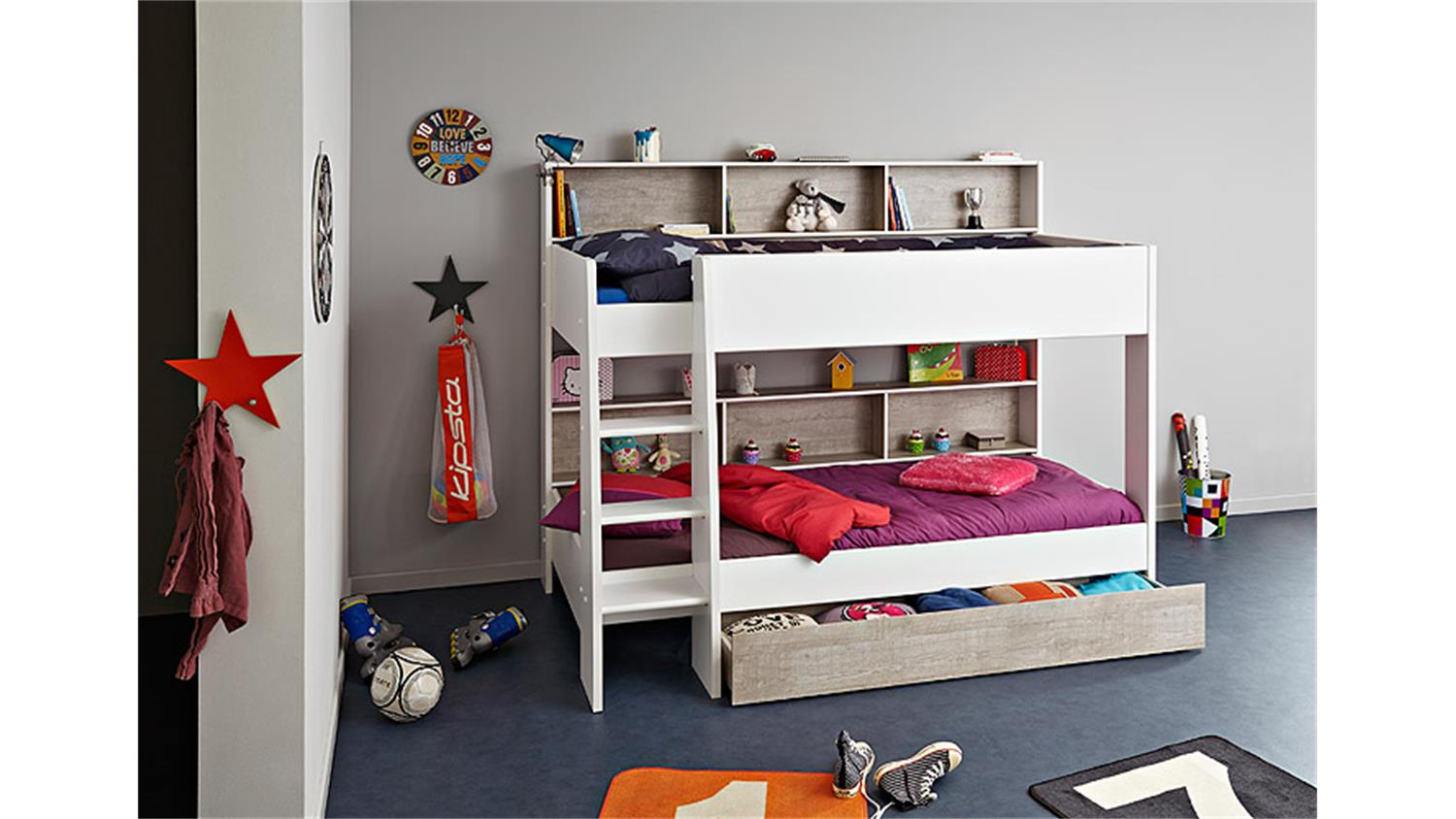 etagenbett taylor 1 hochbett kinderbett in wei und grau loft. Black Bedroom Furniture Sets. Home Design Ideas